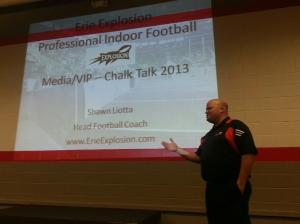 "Erie Explosion Coach Shawn Liotta hosted a ""Chalk Talk"" for members of the Local Media"